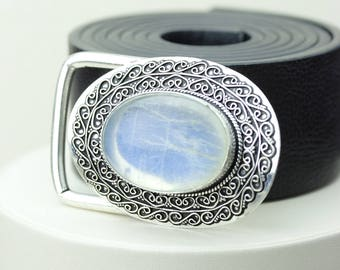 True Blue OPULENT AAA grade Ceylon Moonstone Vintage Filigree Antique 925 Fine S0LID Sterling Silver + Copper BELT Buckle T52