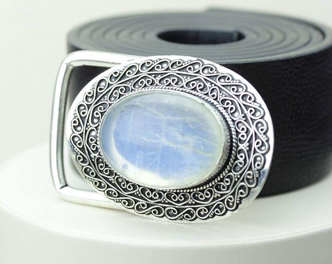 True Blue OPULENT AAA grade Ceylon Moonstone Vintage Filigree Antique 925 Fine S0LID Sterling Silver + Copper BELT Buckle T52