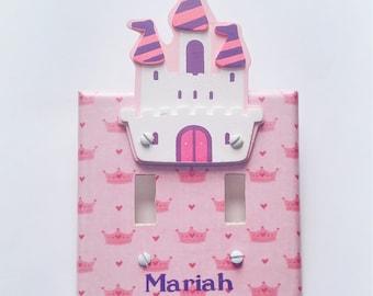Personalized Princess light switch cover castle nursery decor
