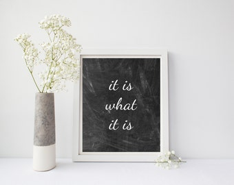 It Is What It Is Print, It Is What It Is Sign, Chalkboard Decor, Chalkboard Art, Inspirational, Motivational, Chalkboard Print, Black White