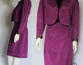 Giorgio Armani, Womens Suit, Silk Suit, 80s Suit, Power, Designer Suit, Purple Suit, Jacket Skirt Suit, Two Piece, UK 8 10, Paisley Print