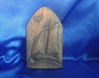 "Art Deco Maritime Folk Art Carving ""Sailing Boat"" old wooden packing case"
