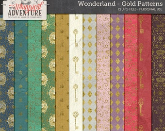 Alice In Wonderland Paper Pack, Gold Pattern Papers, Instant Download, Luxury Backgrounds, Mad Hatter Tea Party, Digital Scrapbooking