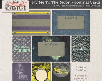 Outer Space, Sci-Fi, To The Moon And Back, Printable Journal Cards For Scrapbook Pages, Instant Download, Project Life Cards, Galaxy