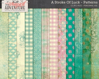 St Patrick's Day Paper Crafts, Lucky Charm Digital Scrapbook Papers, Luck Of The Irish, Instant Download, Emerald Green, Turquoise and Gold