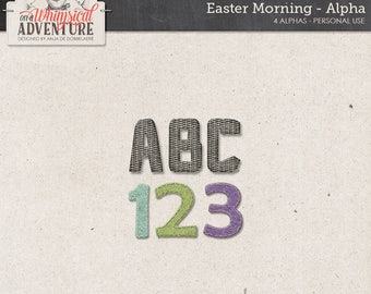 Happy Easter, Alphabet Clipart, Alphabet Felt, Weave Texture, Digital Download, Letters Numbers Symbols Punctuation, Scrapbook Supplies
