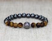 Zodiac jewelry Men gift-for-him birthday Tiger eye bracelet Gemstone bracelet Zodiac gift-for-Aries jewelry Aries bracelet Horoscope jewelry