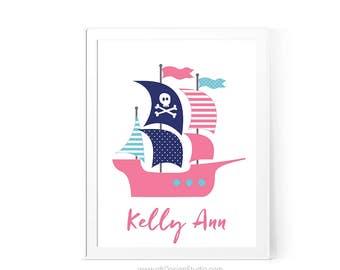 Nautical Nursery Print, Pirate Nautical Ship, Custom Name Print, Nursery Wall Art, Pirate Boat Print, Baby Room Decor, Girl Room Decor D84-2