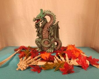 Large Ceramic Dragon Sitting on Feet Figurine