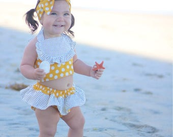 Yellow polka dot cotton two piece- black and yellow polka dot diaper cover, polka dot crop top, baby girl polka dot two piece crop set