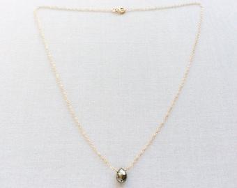 Pyrite Necklace - Gemstone Necklace - Gold Pyrite Necklace- Gem Necklace - Tiny Stone Necklace - Pyrite Jewelry - Tiny Gemstone Necklace