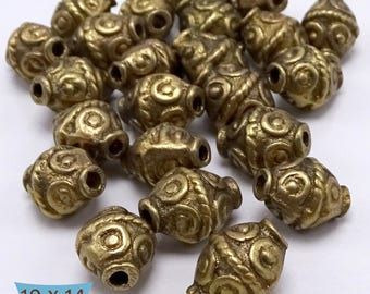 Solid Brass Bicone Rope Coil Pattern Beads—5 Pcs | BR5200-5