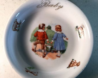 Baby Feeding Dish, Jack and Jill with a pail.  Marked Germany