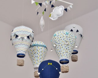 Hot air balloon baby mobile Navy, Grey, Turquoise,Green Nursery,Travel theme,Custom mobile,Create mobile in your color
