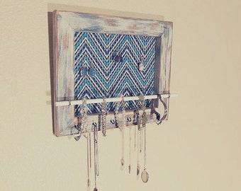 Jewelry Organizer, Necklace Holder, Wall Jewelry Organizer, Blue Chevron Style