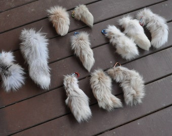 REAL; light colored fox tail keychains