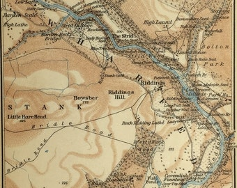 Vintage map of Wharfedale & Bolton Abbey (genuine 1901 antique) with option to handcut with custom words