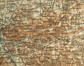 Vintage map of Guildford & Dorking (genuine 1901 antique) with option to handcut with custom words