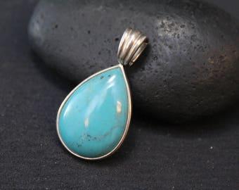 Sterling Silver Turquoise Teardrop Pendant, Modern Turquoise Pendant, Sterling Turquoise Jewelry, Simple Sterling Turquoise Pendant