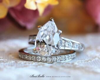 4.42 ct.tw Bridal Set Ring-Pear Cut Diamond Simulant-Wedding Ring-Engagement Ring W/ Half Eternity Ring-Solid Sterling Silver [61200-2]
