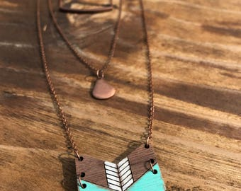 Wooden Necklace - Layered Chevron