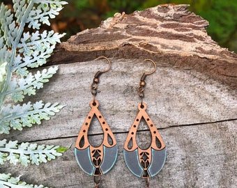 Wooden Earrings - Grey Lace Vintage