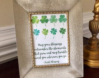 Happy St. Patricks Day Art Print - Shamrock - Four Leaf Clover - Irish Sign - 5x7 or 8x10