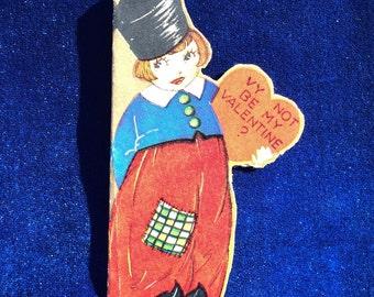 1920's Valentine Dutch Boy Tiny Card Gold Leaf