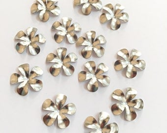 Flower Bead 5 Petal Stainless Steel Caps 12 pcs, Steel Flower Bead Caps 15mm, Jewelry Supplies Findings, Jewelry Making Iron Findings Beads