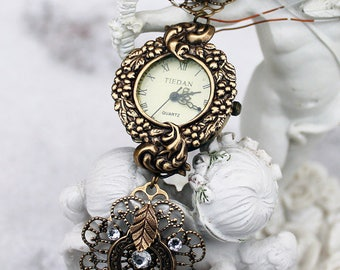 Vintage oxidized brass swarovski white watch
