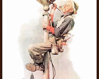 Man Painting Flagpole Post Cover painted by Norman Rockwell in 1928. The page is approx. 11 1/2 inches wide and 15 inches tall.