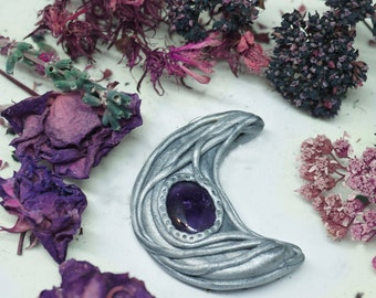 FreeShipping magic Moon silver polymer clay and Amethyst pendant