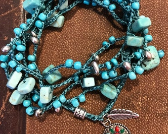 Turquoise Block Lariat Wrap Necklace
