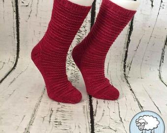 Merino handknitted socks for women, size 6-7 US, handmade in Quebec