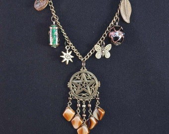 Recycled Vintage Steampunk Star Charm Pendant