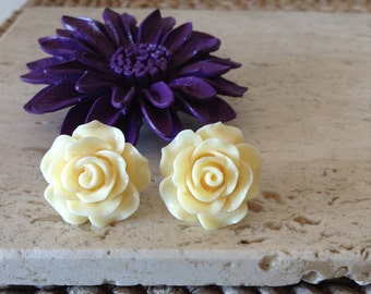 Bold oversized Pale Yellow Acrylic Rose post earrings. Make a statement with any outfit.