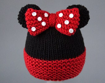 Knitting Pattern Mouse Hat : Mickey mouse knitted hat Etsy UK