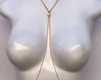 gold Body Chain, crystal body chain, bikini body jewelry, simple body chain, bralette chain, harness body chain, body chain