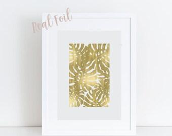 Palm Leaf - Tropical Leaf Print - Gold Foil Print - Jungalow - Gold Art - Wall Art - Botanical Print - Tropical Decor- Wall Decor