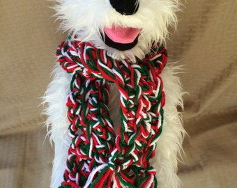 Hand Knit Red White and Green Christmas Dog Scarf