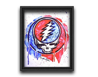 The Grateful Dead, Steal Your Face, Grateful Dead Art, Watercolor Print, Rock and Roll Art, Deadhead, Hippie Art, Watercolor Art Print