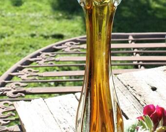 Murano Vase Mid Century Honey Amber Glass