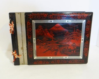 Vintage Japan Photo Album Music Box Y S Black and Red Laquer Sankyo Love is a Many Splendored Thing