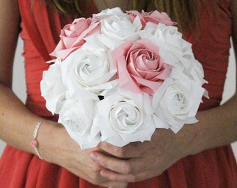 Origami - white and Pink Roses - bridal bouquet - Japanese paper