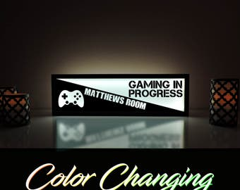 Gaming in Progress Sign, Custom Video Game Sign, Video Game Decor, Kids Room Sign, Xbox, Gamer Sign, Personalized Kids Room Sign
