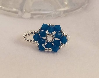 Caribbean Blue Opal Swarovski Crystal and Sterling Silver Ring Size 7 3/4