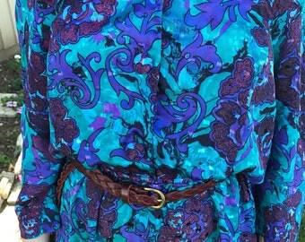 Vintage Teal Purple Floral Paisley Dress 1980s 80s Size 11/12