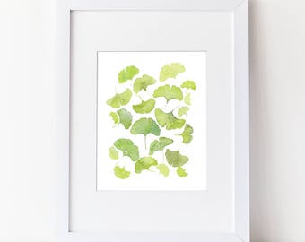 Watercolor Gingko Leaves - Green Leaves - Tranquill Nature - Zen Art - Watercolor Modern  Art Print  - Various Sizes