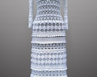 Crochet dress Eliza, vintage-style dress, evening dress. White Maxi Dress for Wedding or Special Occasion. Made to order. Free shipping