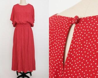 Vintage Dainty Polka Dot Maxi Dress - Scoop Neck - Back Keyhole - Red & White Polka Dots - Slouchy Women's Medium / Large